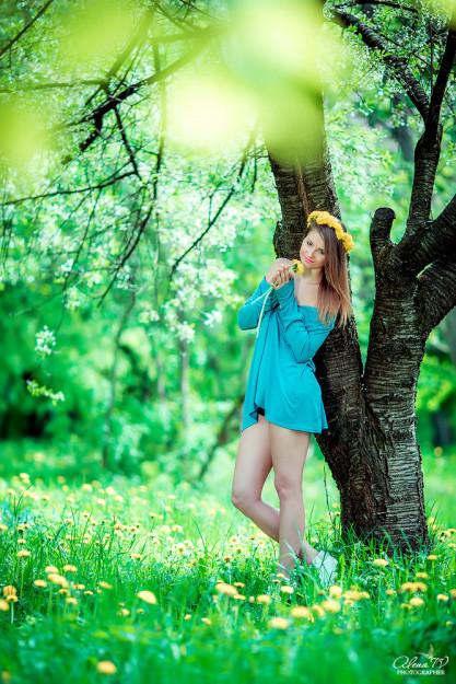 фотосессия с одуванчиками на природе
