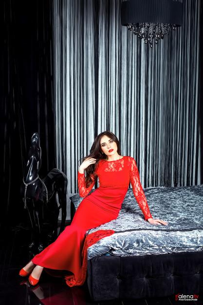 фотосессия в красном платье