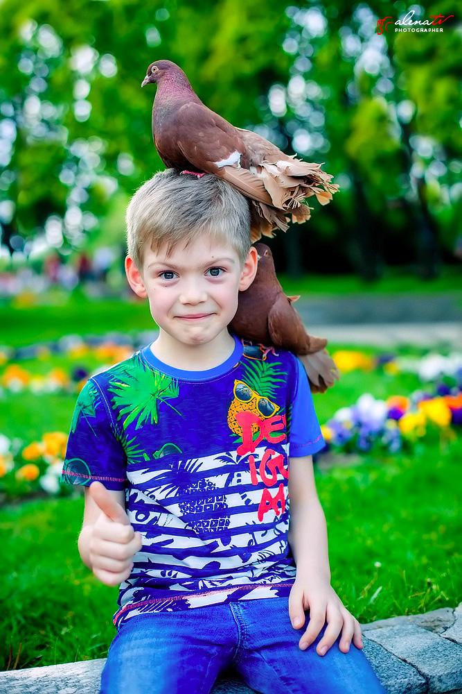 фото мальчика с голубем
