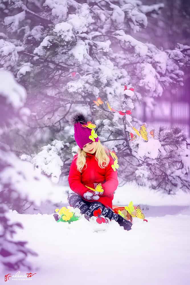 детская фотосессия с бабочками зимой