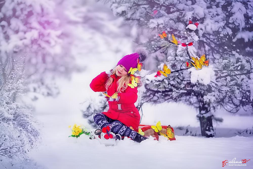 зимняя детская фотосессия с бабочками