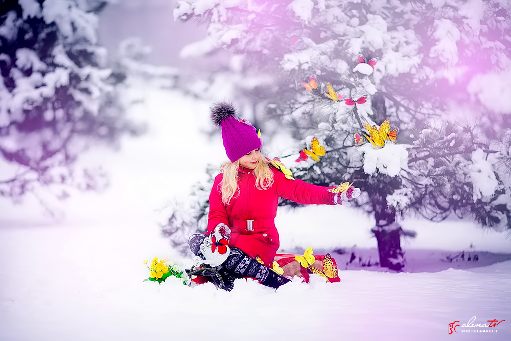 зимняя детская фотосессия с мотыльками