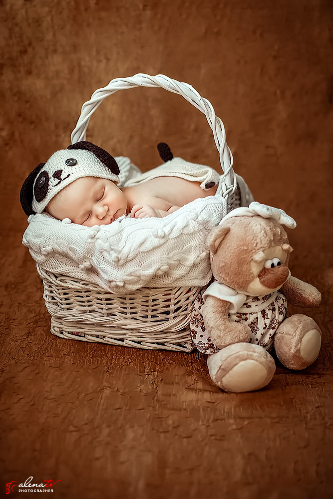 младенец в корзинке с мишкой