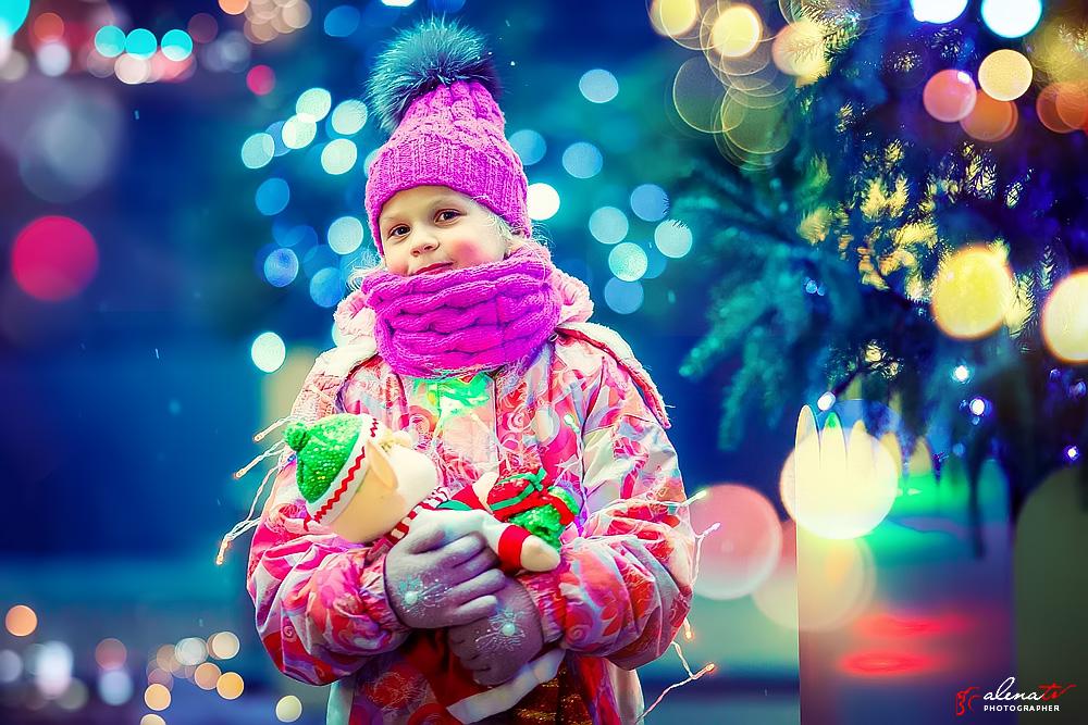 фотосессия девочки с гирляндами