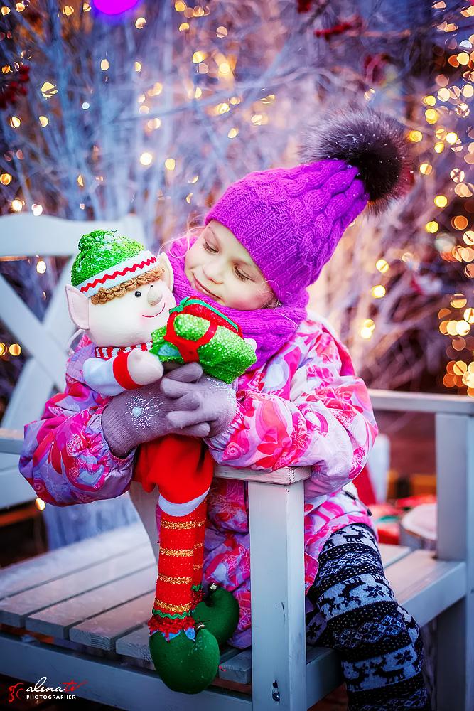 детская фотосессия зимой девочки